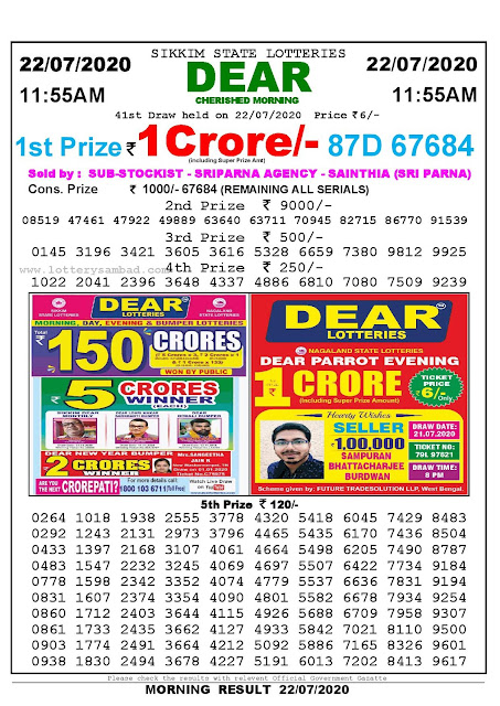 Sikkim State Lotteries 22-07-2020 Lottery Sambad Result 1155 AM