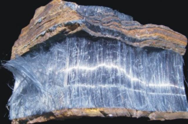 Crocidolite Asbestos, asbestosis, pneumoconiosis, mesothelioma, etiology, causes, chemical formula Na2Fe2+3Fe3+2Si8O22(OH)2
