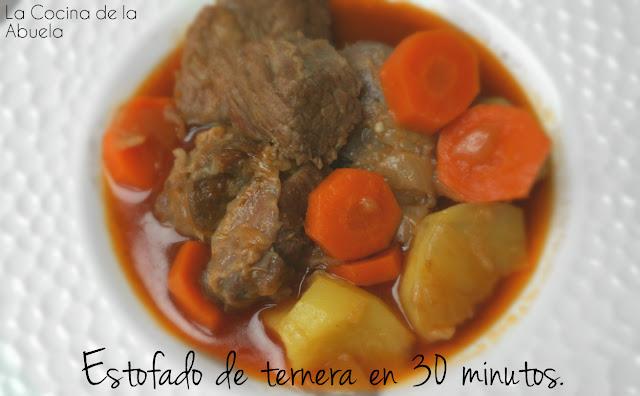 estofado ternera carne guisada olla rápida express 30 minutos