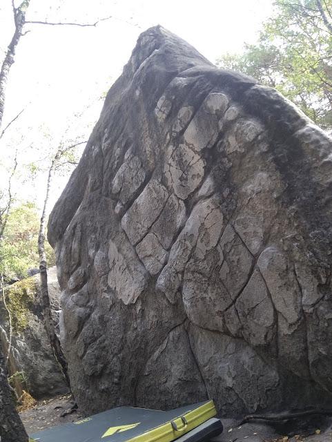 Sandstone boulder in Fontainebleau