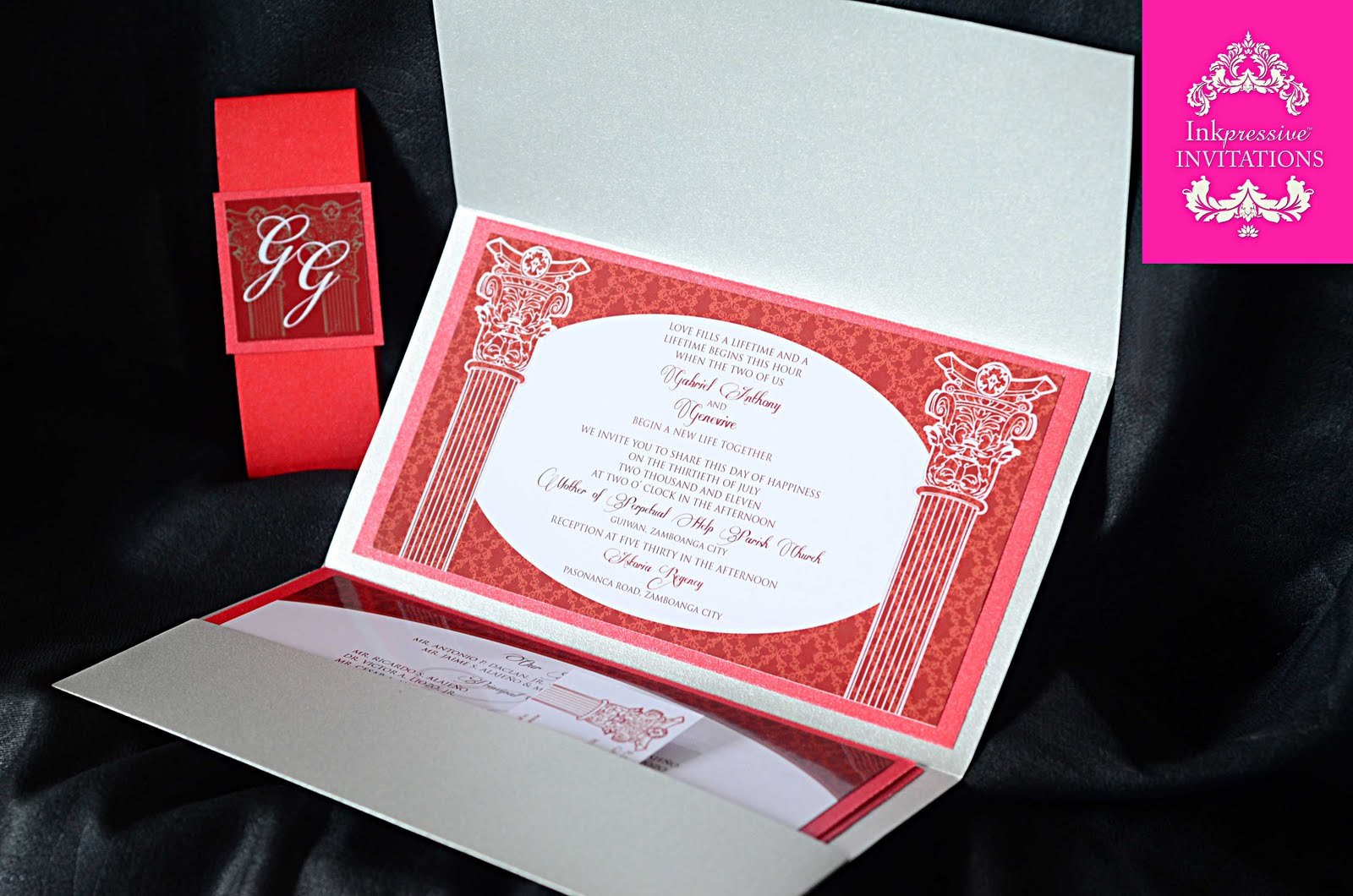 Silver Wedding Invitations: Red And Silver Wedding Invitation