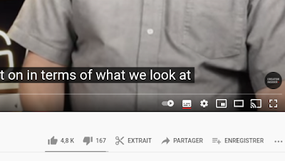 """Si vous visualisez du contenu à partir de l'un des canaux de cette expérience, vous verrez une icône de clip sous forme de """"paire de ciseaux"""" sous la vidéo qui vous permettra de sélectionner une partie de la vidéo que vous souhaitez couper."""
