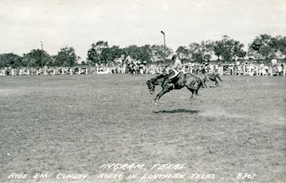 A rodeo in Ingram, Texas 1930s