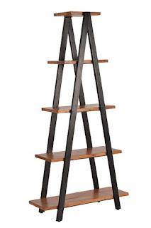 Estanteria escalera diseño industrial madera forja