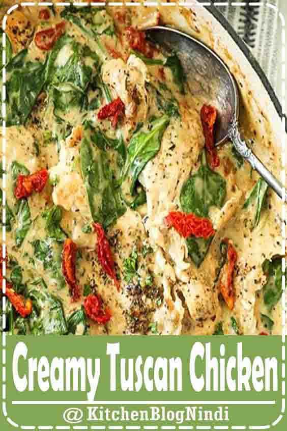 4.9★★★★★ | Creamy tuscan chicken is an easy one pan meal. It's dairy-free, gluten-free and will hit the spot when you want comfort food! #CreamyTuscan #Chicken