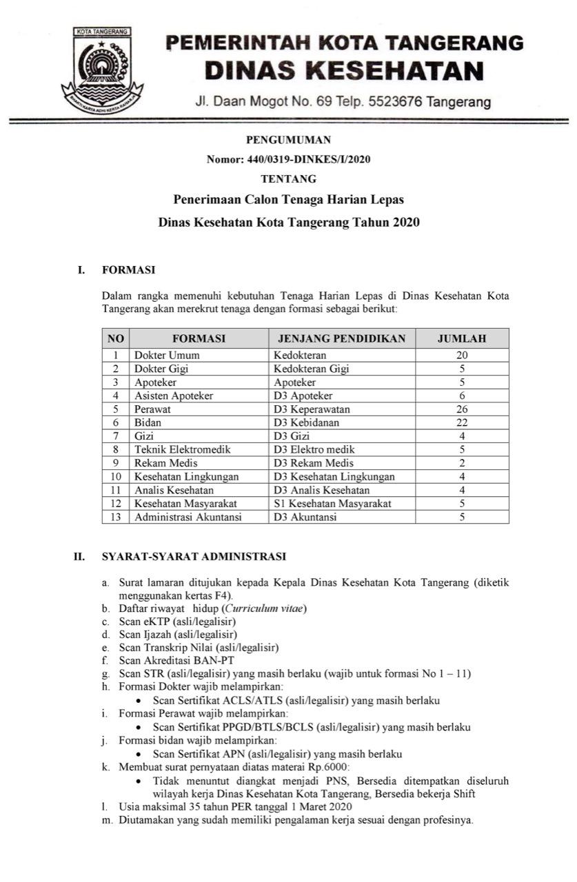 Lowongan Kerja Non Pns Dinas Kesehatan Kota Tangerang Tahun 2020 Rekrutmen Lowongan Kerja Bulan Mei 2021