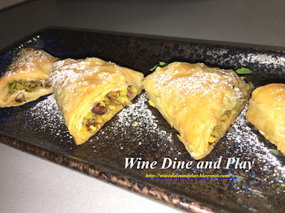 The pahlavi dessert is a Russian take on the Greek and Afghan Baklava dessert with phyllo, pistachio and honey