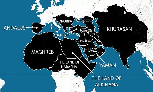 """In 2014 ISIS released this map of their """"5 Year Plan"""""""
