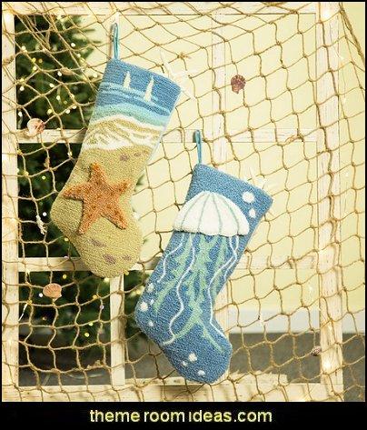 Hooked Stocking  Coastal Christmas decorating theme - coastal Christmas decor - beach christmas  - Beach Christmas Decorations  - seaside decor - coastal ornaments - beach themed Christmas decorations - beach themed christmas tree -  sea themed ornaments -  nautical accents - beach themed ornaments - coastal Christmas tree skirts - beach & seaside decorations