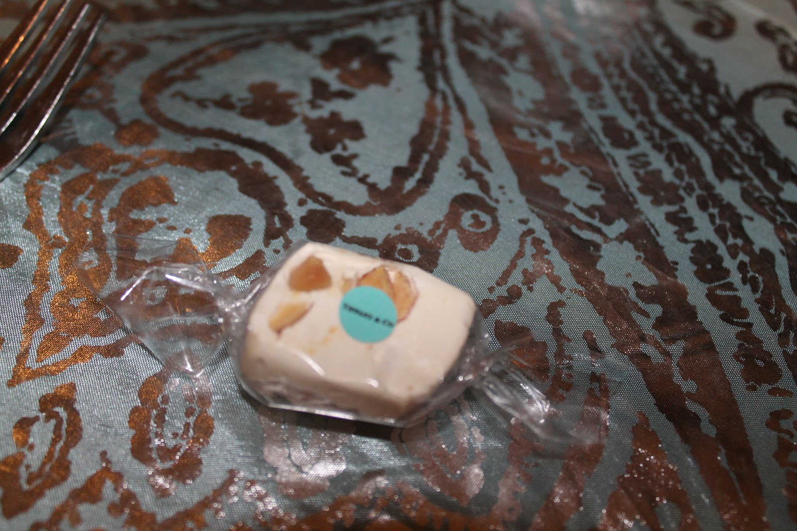 3f7a4ea585a We added little Tiffany   Co stickers to the nougat at each place setting.