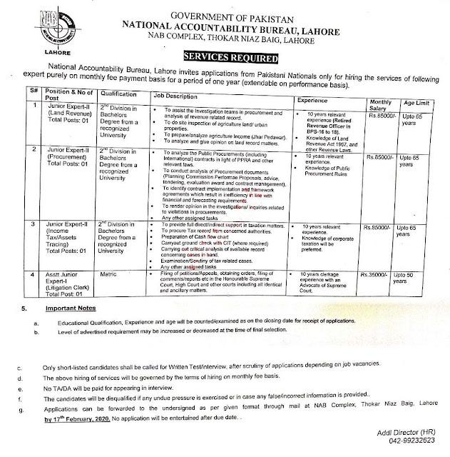 National Accountability Bureau NAB Jobs 2020