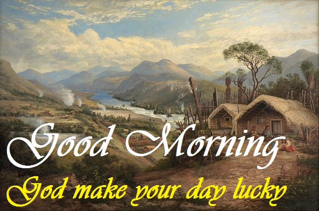 good morning message with village painting image