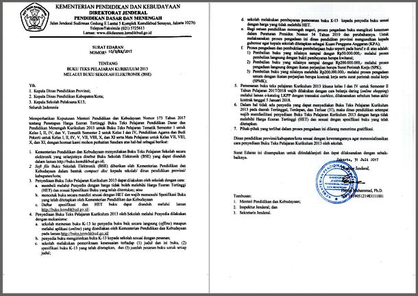 Surat Edaran Dirjen Dikdasmen Tentang Buku Teks Pelajaran Kurikulum 2013 Melalui Buku Sekolah Elektronik (BSE)