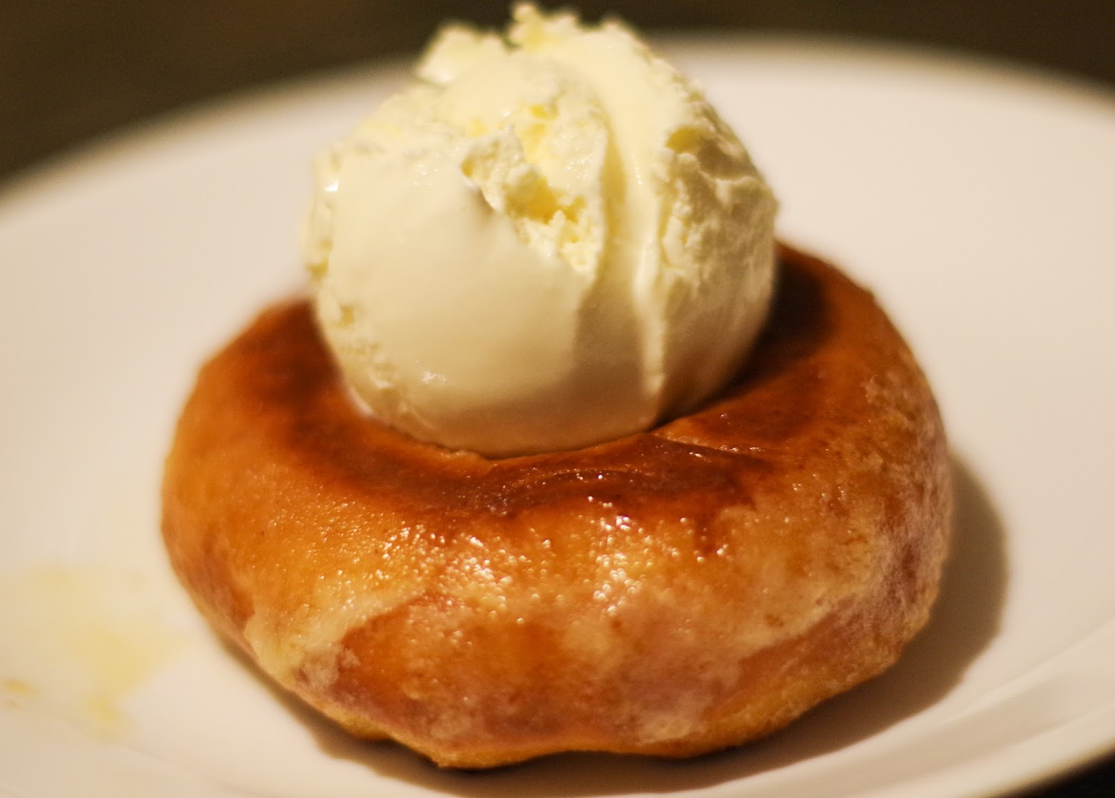 A glazed donut shallow fried in butter and served with ice cream. Amazing.
