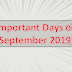 List of Important Days in September 2019