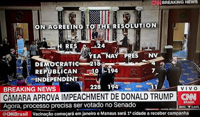 Breaking News da CNN logo após a confirmação do impeachment de Trump
