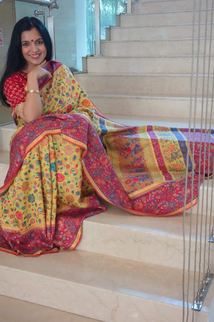 Florescent Kani saree