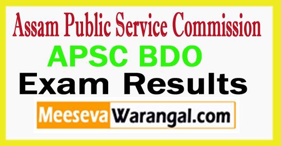 APSC BDO Result 2017