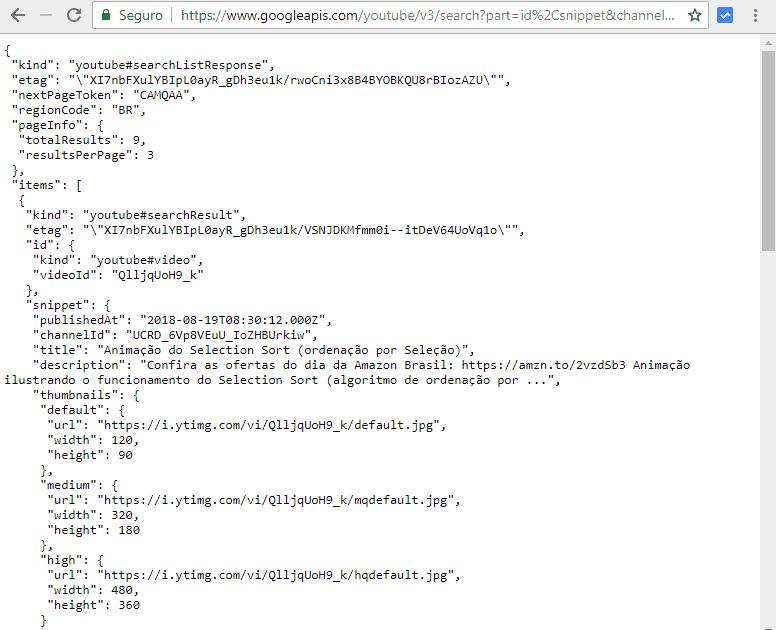 Exemplo de resposta visualizada no navegador
