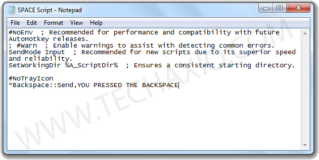 BACKSPACE Script Screenshot
