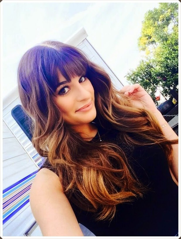 Brunette hair summer highlights and bangs are perfect