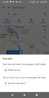 Google Maps get off-route alerts