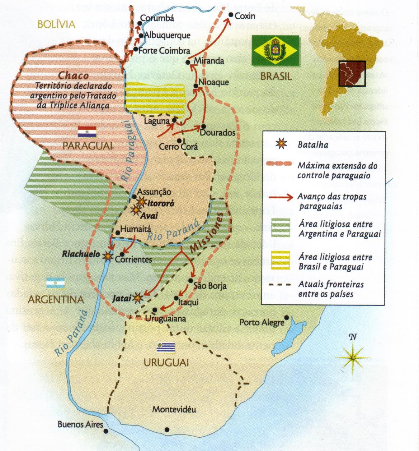 Resultado de imagem para mapa da guerra do paraguai