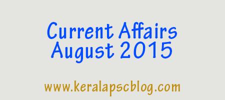 Current Affairs August 2015 PDF