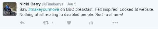 Tweet about lack of thought for disabled people