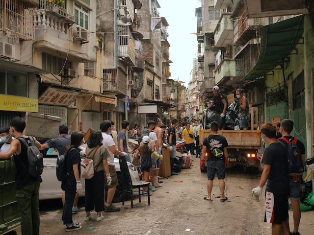 Cleanup from Typhoon Hato on Rua da Tercena