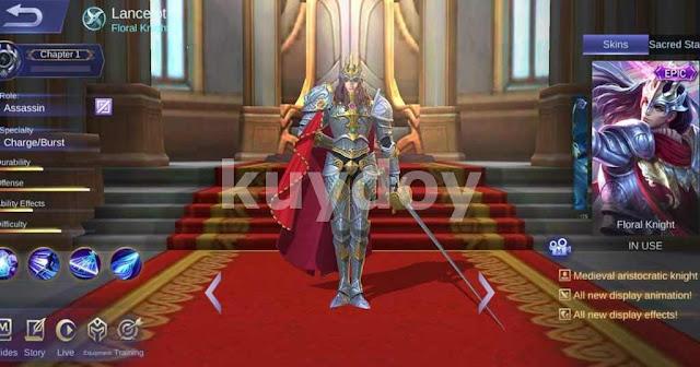 Script skin epic Lancelot Floral Knight Mobile Legends