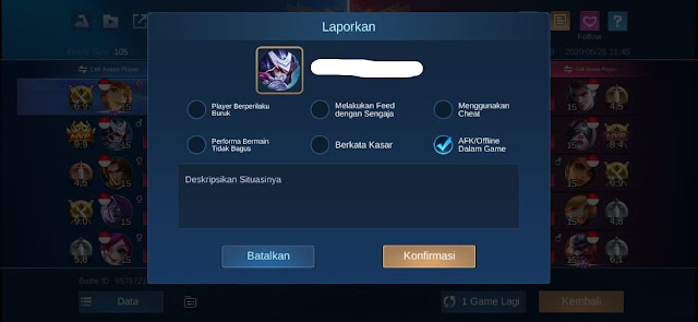 Report Player Mobile Legends