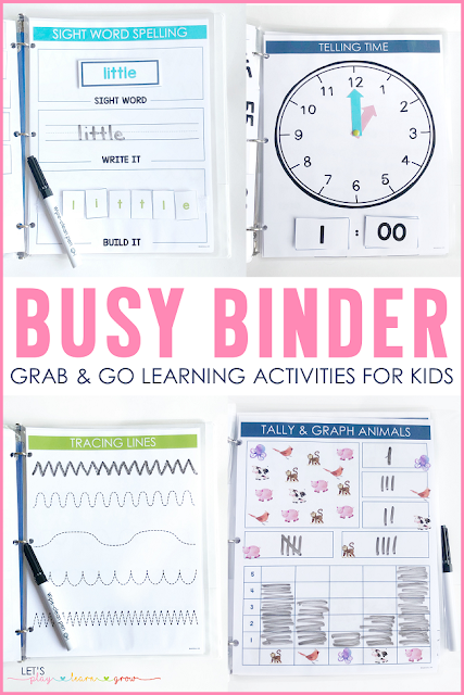 Busy Binder Activities for Tot School, Preschool, and Kindergarten