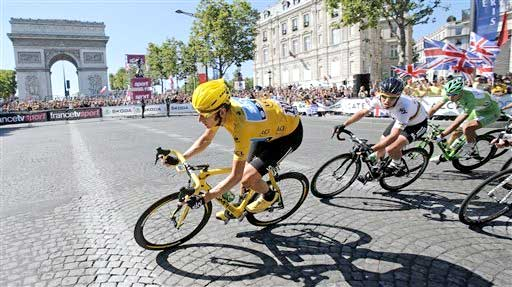 Bradley Wiggins leads out Mark Cavendish during the final lap of stage 20 of  the 2012 Tour de France af274a238