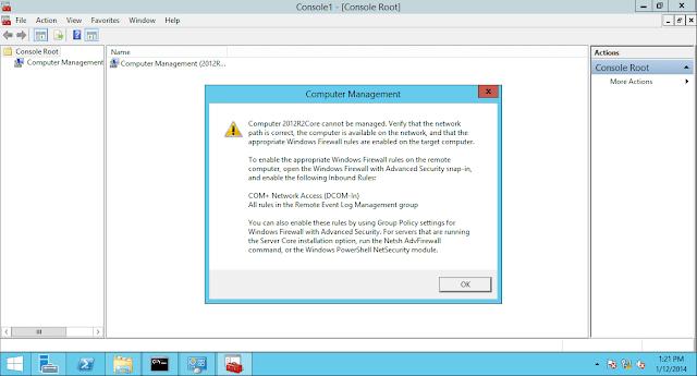 الإدارة عن بعد مع mmc في Windows Server 2012 R2