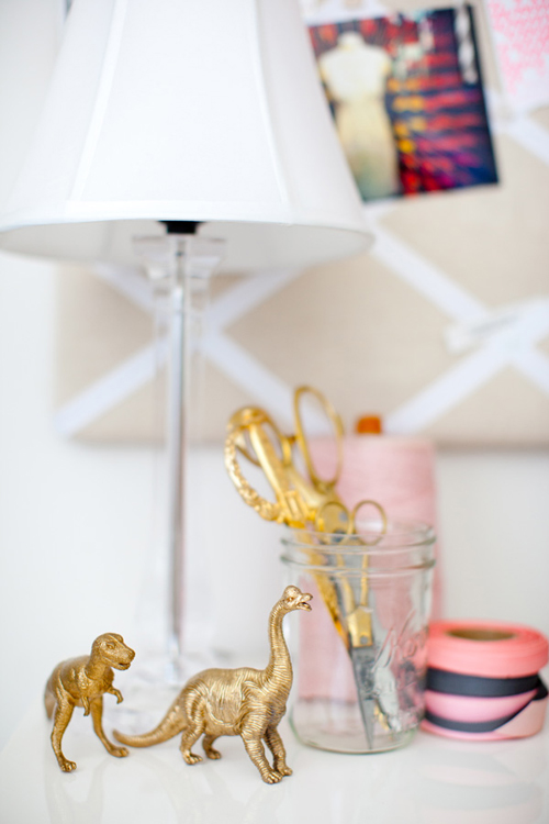 Sprayed+Golden+Dinosaurs+Glitter+Guide+Catherine+Sheppard+of+the+life+styled Sparkling Interior Inspiration and Home Office Style From Glitter Guide Catherine Sheppard of the life styled