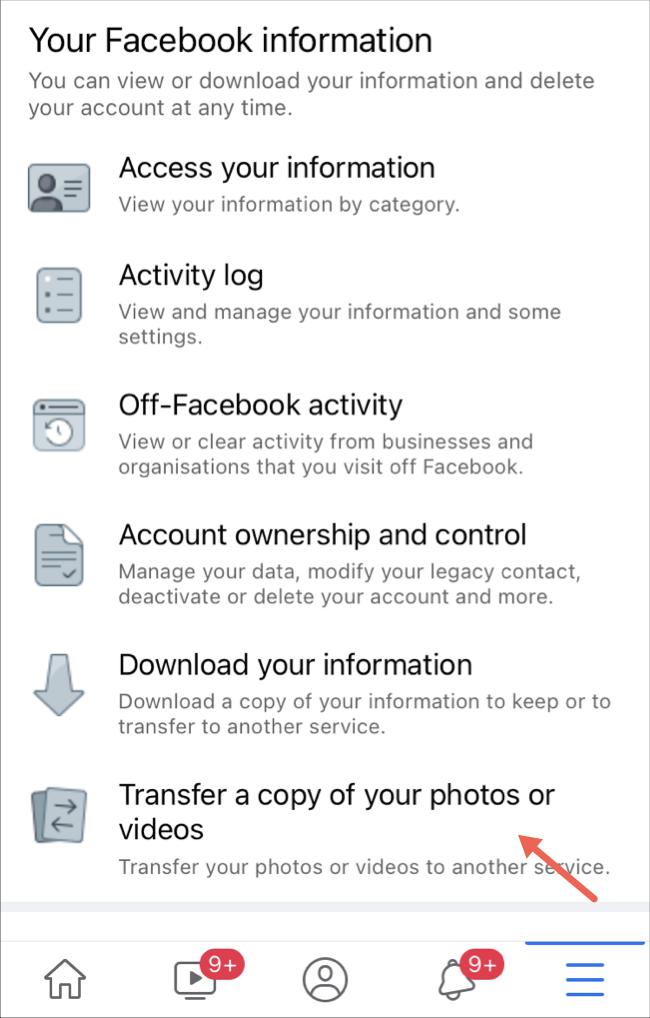 حدد خيار نقل الصور ومقاطع الفيديو على تطبيق Facebook