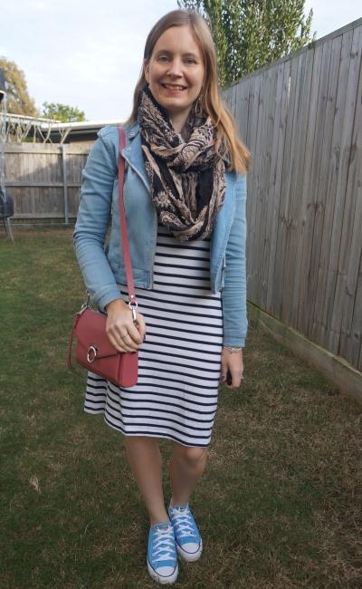 Converse, navy white striped tee dress, denim jacket, jean mac bag   awayfromblue