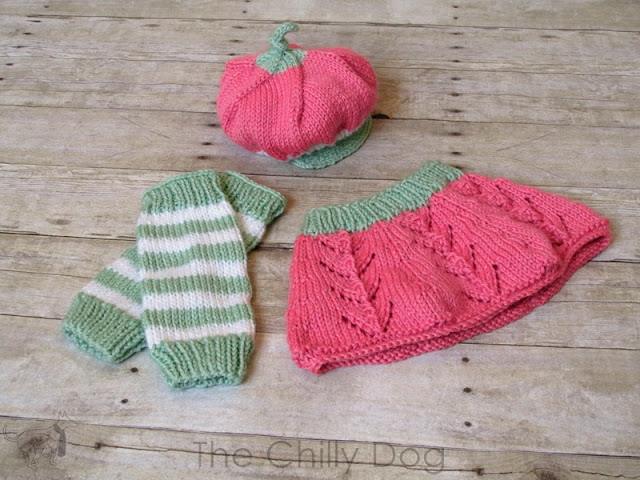 Knit baby Strawberry Shortcake photo prop costume pattern