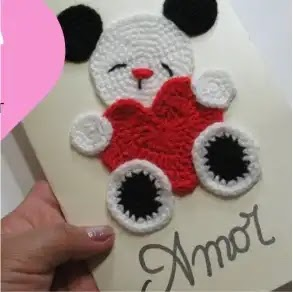 Tarjeta Osito a Crochet