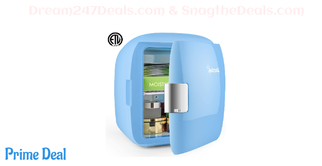 30%OFF Mini Fridge 9 Liter/12 Can AC/DC Portable Thermoelectric Cooler and Warmer for Skincare, Foods, Bedroom, Home and Travel, Blue