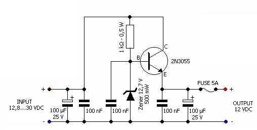 12 Volts Voltage Regulator Car Adapter Circuit Diagram