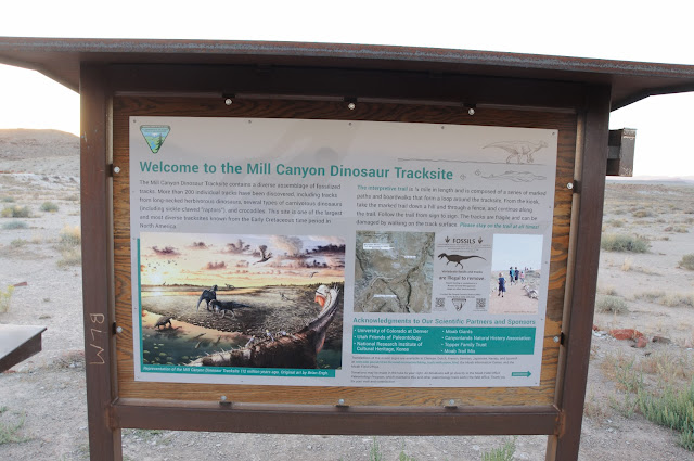 Educational sign at Moab's Mill Canyon Dinosaur Tracksite