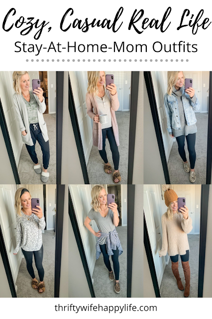 Cozy, Casual Real Life Stay-at-Home-Mom Outfits || Thrifty Wife Happy Life