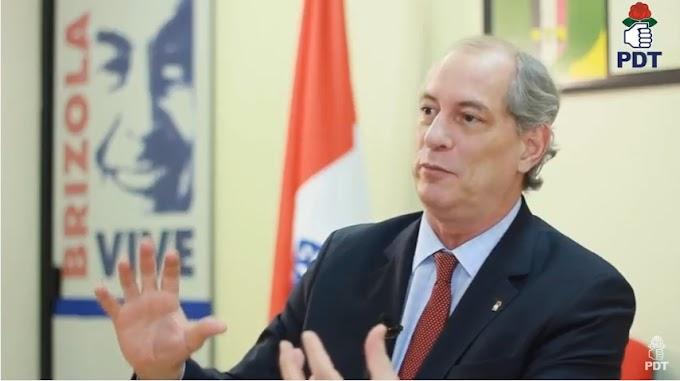 """Ao recusar apoio do MDB, Ciro Gomes diz: """"Essa quadrilha precisa ser afastada"""""""