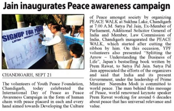 Jain inaugurates Peace awareness campaign