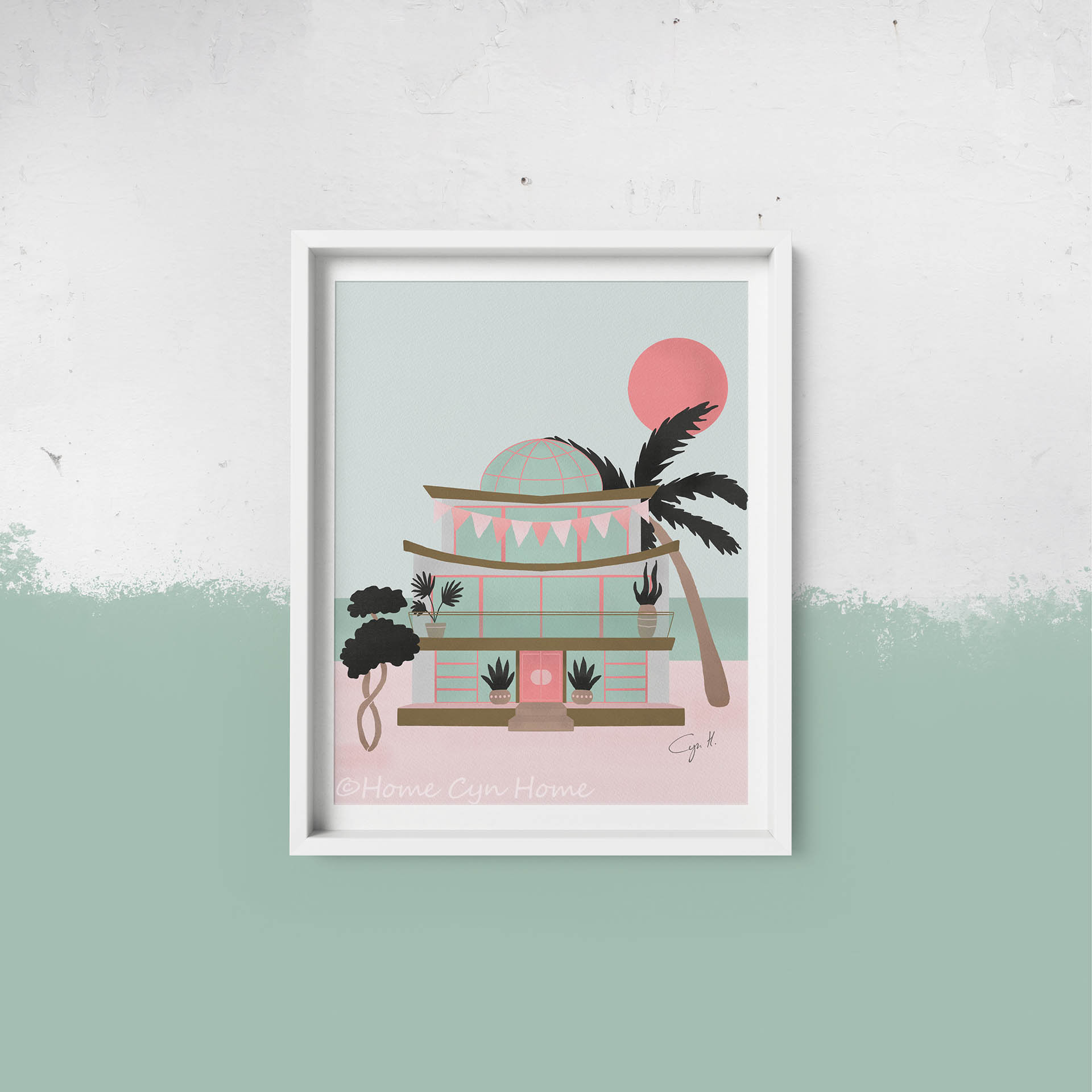 A cute pastel pink and mint beach house with big windows and a glass dome