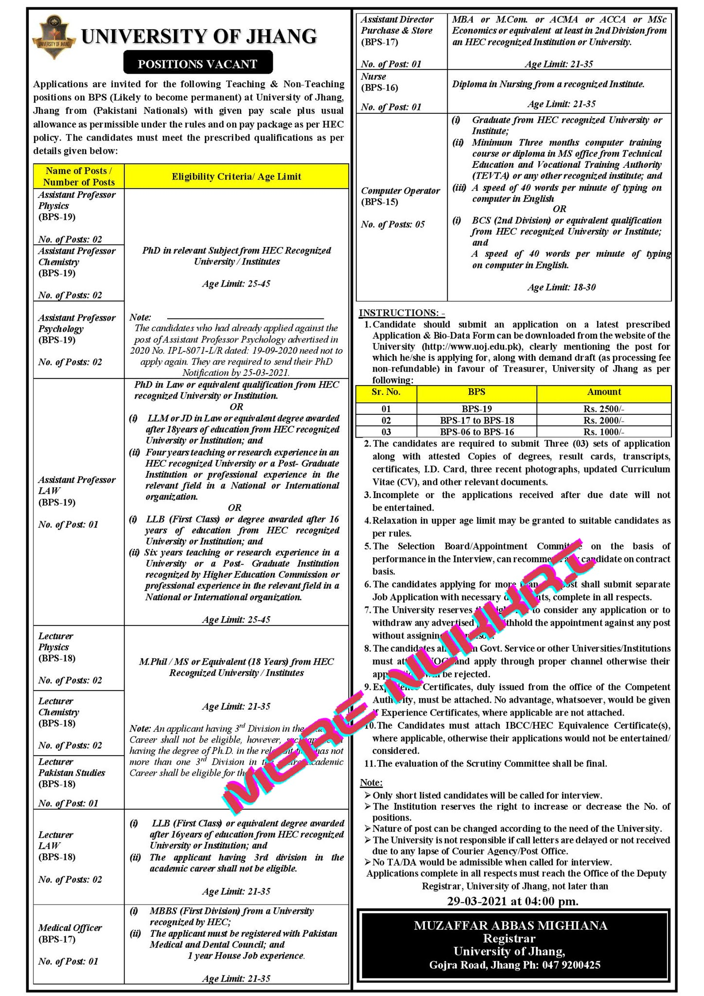 University of Jhang Jobs 2021 Latest Advertisement | Teaching & Non-Teaching positions