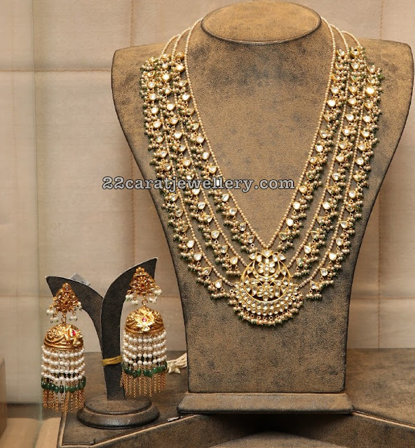 Polki Kundan Pearls Set Beads Hanging Jhumkas