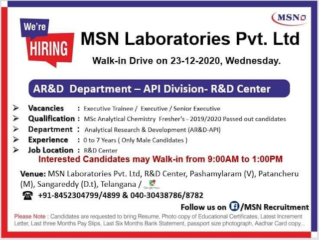 MSN Laboratories | Walk-in for Freshers &Expd in API-AR&D on 23rd Dec 2020